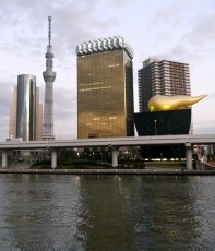 Tokyo Sky Tree viewed from Asakusa, with the Asahi Beer headquarters in the foreground