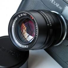 Contax G Sonnar 90/2.8 converted for Leica on a Konica Hexar RF